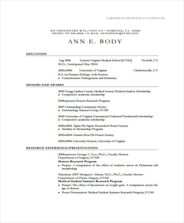 Curriculum vitae sample for students pdf