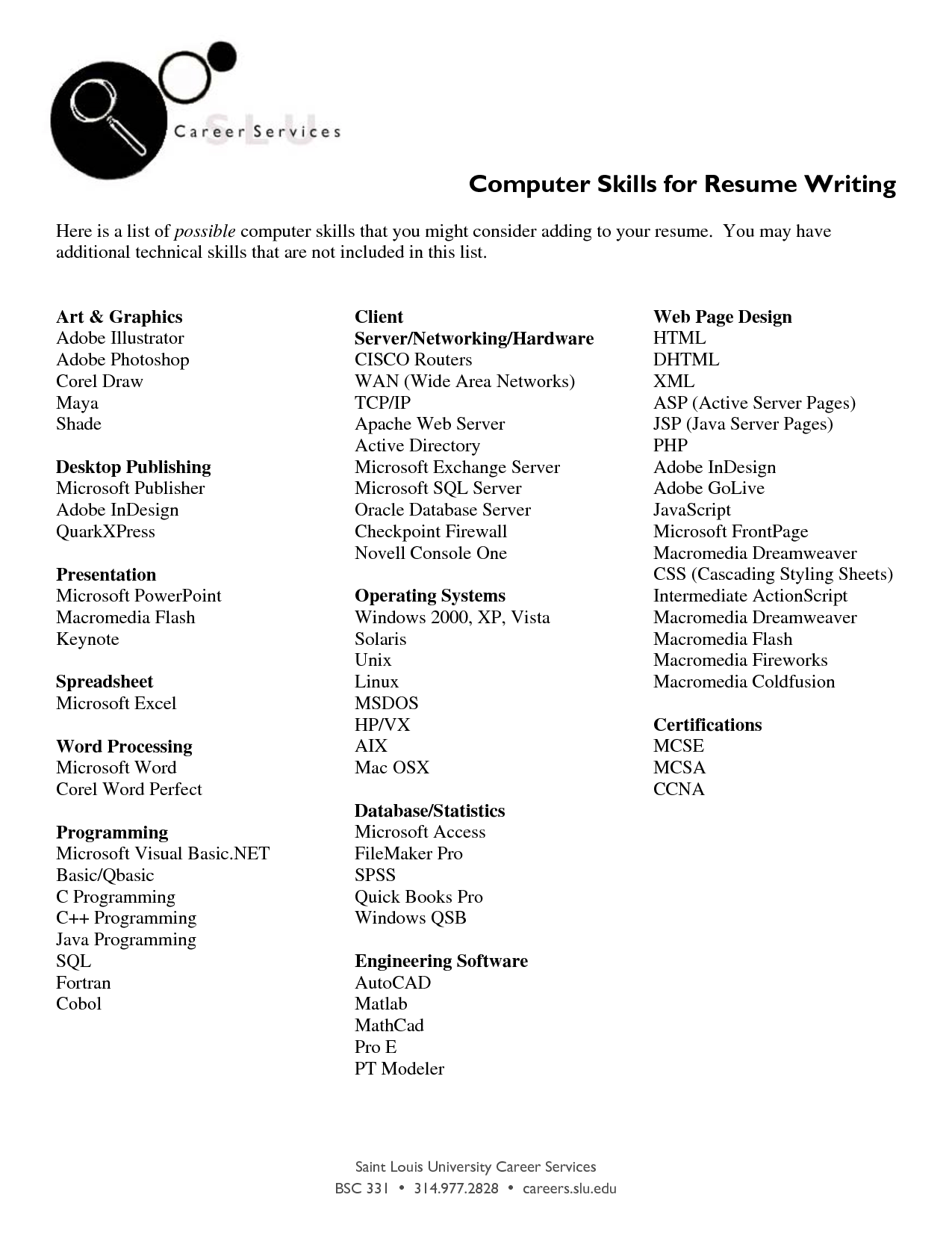 Computer skills list job application