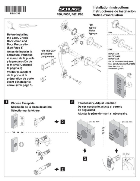 Schlage f60 installation instructions