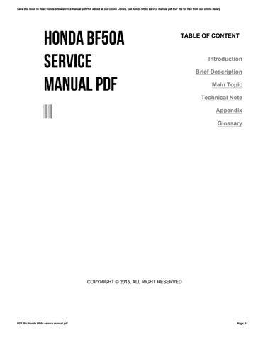 honda bf50a workshop repair manual download