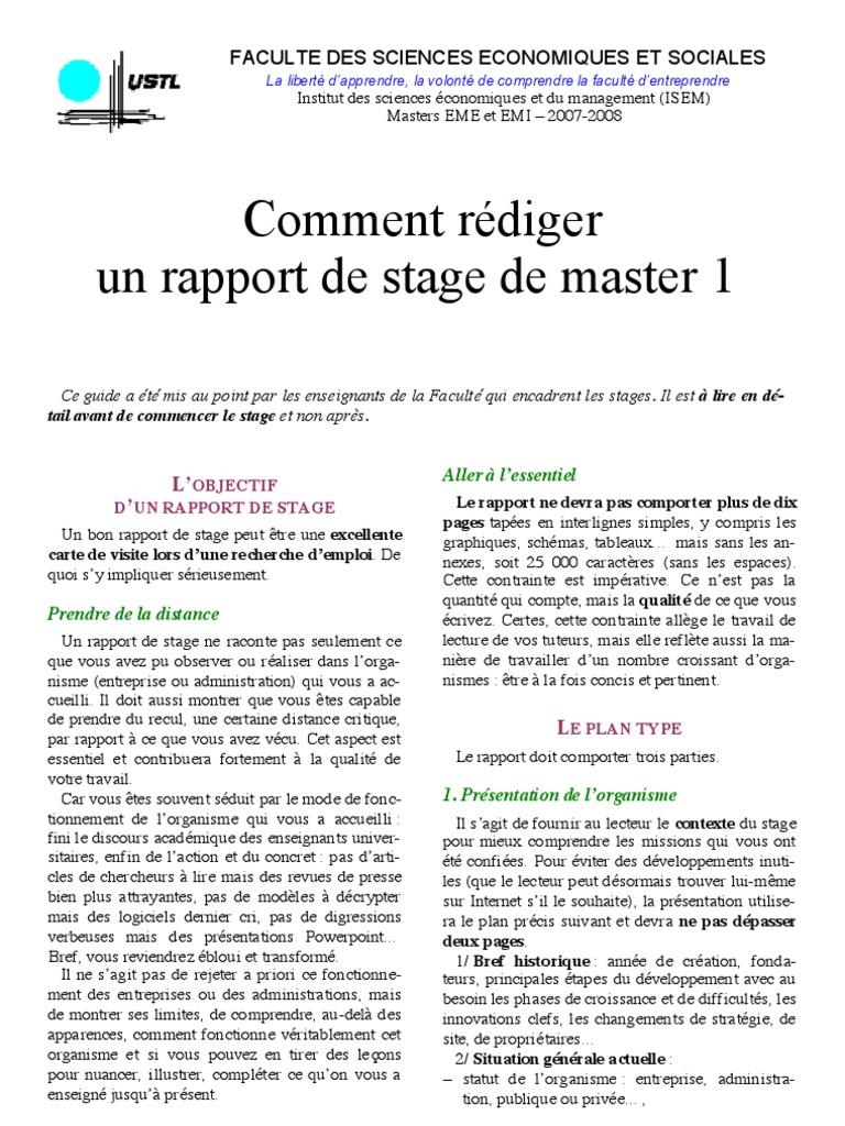 Comment faire un bon rapport de stage pdf