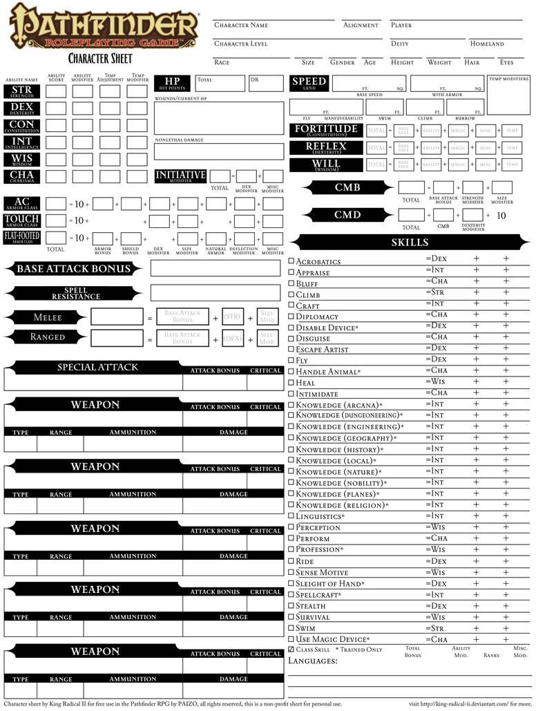 Pathfinder wizard character sheet pdf