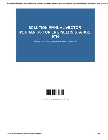 vector mechanics for engineers statics solution manual