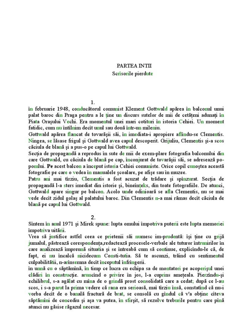 Milan kundera insuportabila usuratate a fiintei pdf