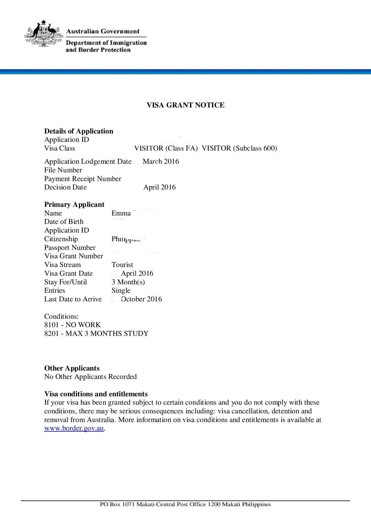 Australian tourist visa application letter