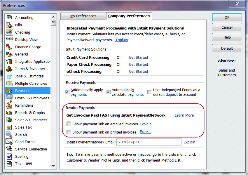 Quickbooks pop ups how to turn off