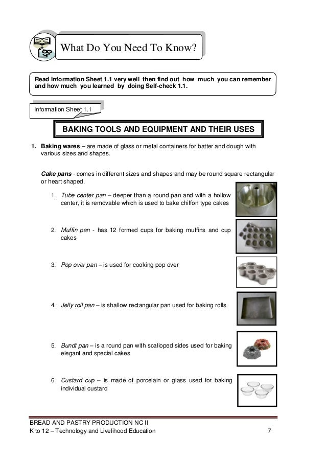Baking tools and equipment and their uses with pictures pdf