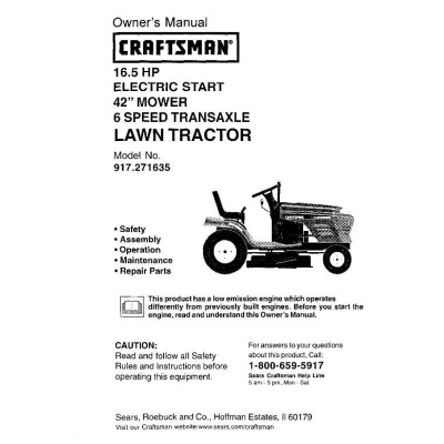 sears tractor model 917 25940 manual