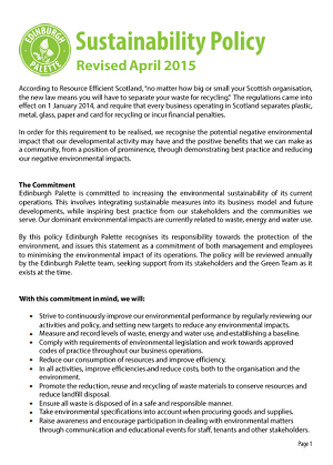Sustainability policy in childcare example